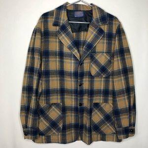Vintage 60s Wool Plaid Blazer Shirt 49er Topster
